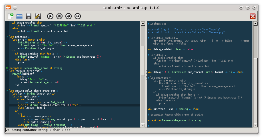 ocaml-top screenshot